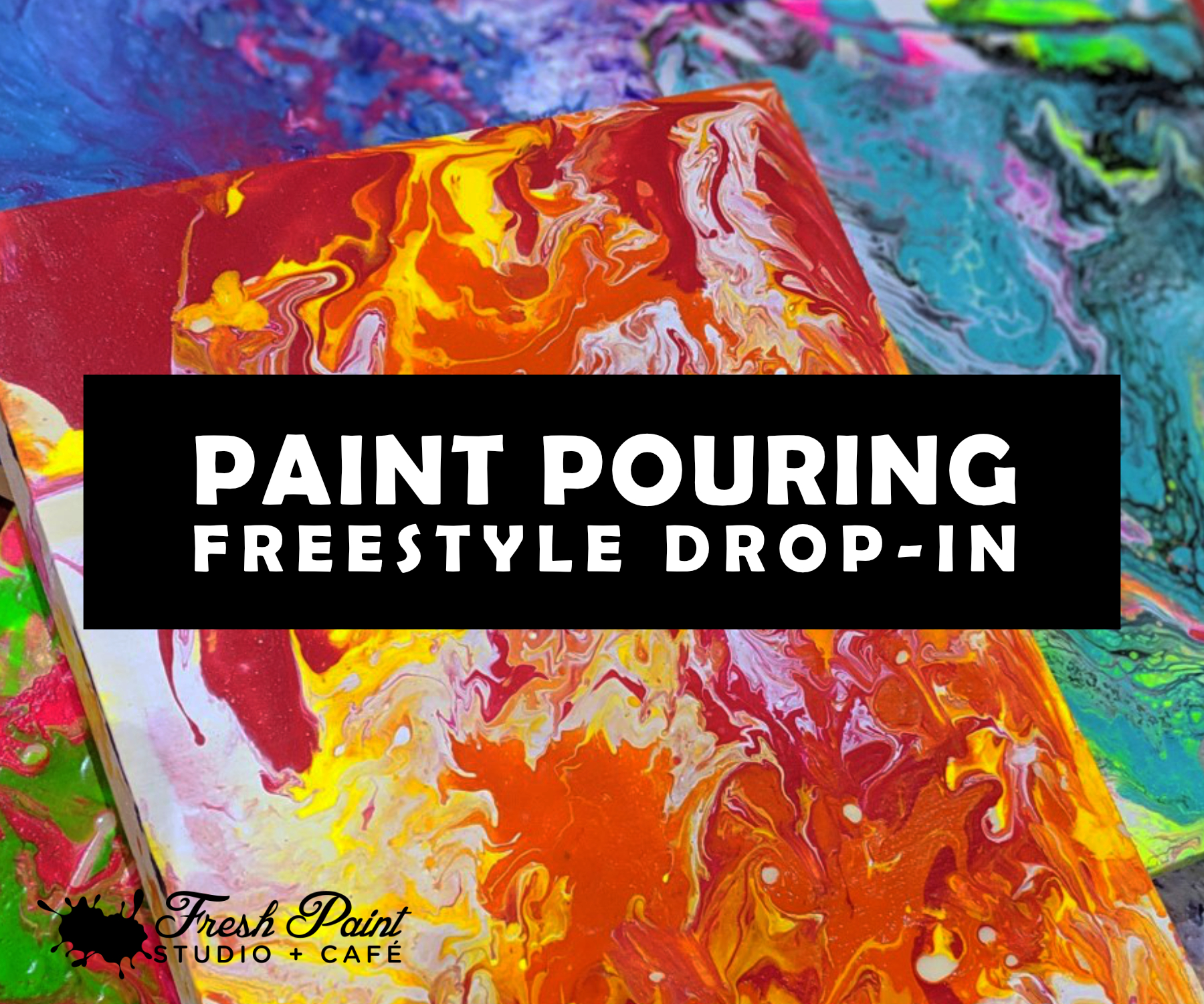 Abstract Paint Pouring Drop in