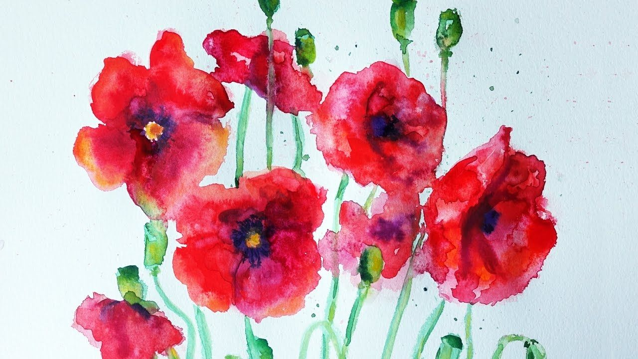 Watercolour Paint Night - Red Poppies