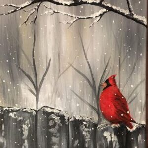 Cardinal on the Grey Fence - Virtual Paint Night