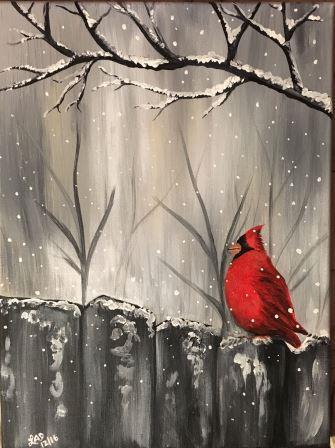 Cardinal on the Grey Fence - Virtual Paint Night