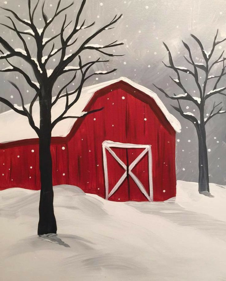 Red Barn in the Snow - Virtual Paint Night