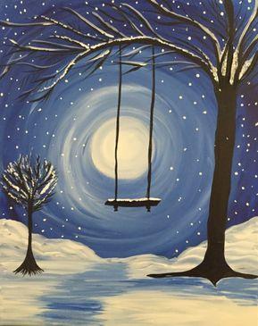Winter Tree & Swing Virtual Paint Night