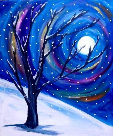 In Studio Paint Night - Winter Moon & Tree