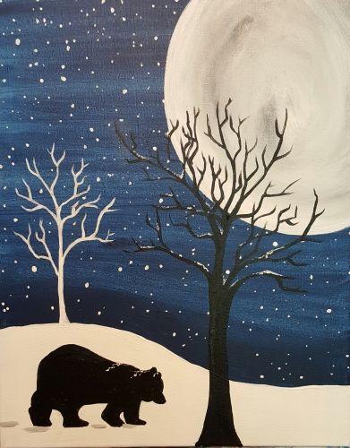 Bear in the Snow - Virtual Paint Night