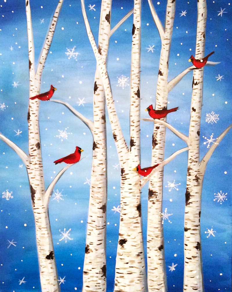 Cardinals and Birch Trees - Virtual Paint Night