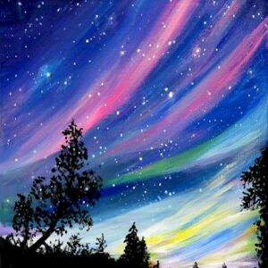 Northern Lights in the Winter - Virtual Paint Night