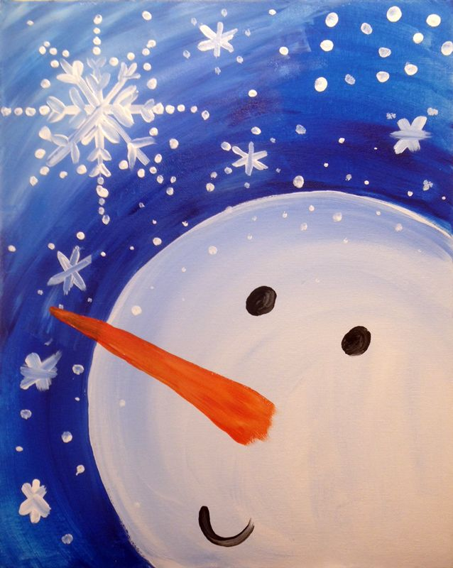 Free Virtual Paint Day for Kids - Happy Snowman