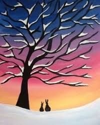 Bunnies in the Snow - Virtual Paint Night