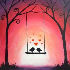 Love Birds on a Swing - Virtual Paint Night