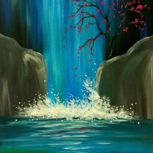 Moonlight Waterfall - Virtual Paint Night
