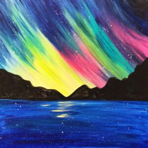 Virtual Paint Night - Northern Lights, Mountains & Moon