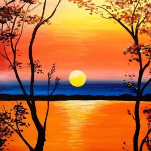 Sunset in the Trees Over the Water - Virtual Paint Night