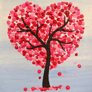Free Instruction – Virtual Kids Paint Day – The Valentine's Heart Tree