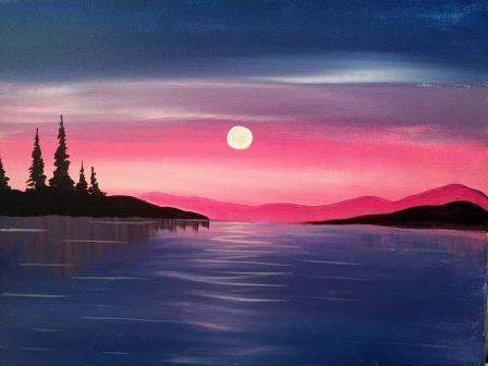 Moon Over the Water - Virtual Paint Night