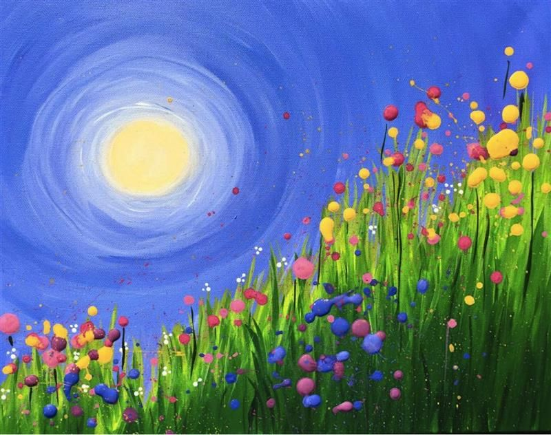 Spring Flowers in the Grass - Virtual Paint Night