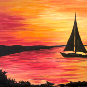 Virtual Paint Night - Sunset Boating