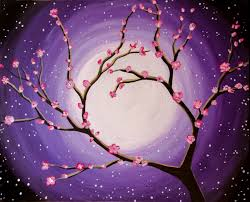 Moonlit Cherry Blooms - Virtual Paint Night