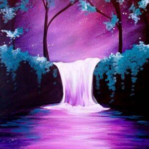 Purple Nights & Waterfall - Virtual Paint Night