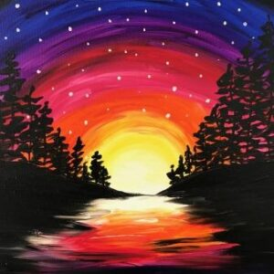 Rainbow Sky in the Trees - Virtual Paint Night