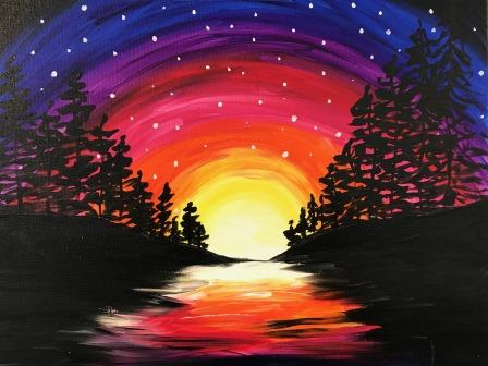 Rainbow Sky in the Trees - Virtual Paint Night