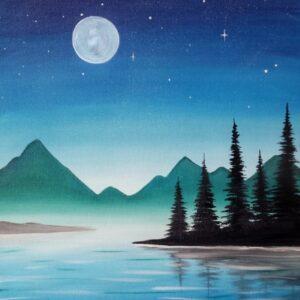 Virtual Paint Night - Blue Sky, Moon and Summer Night