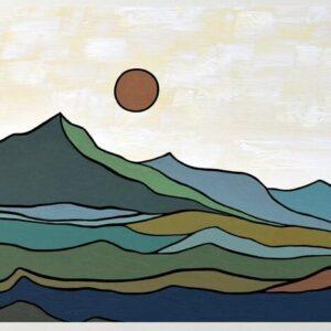 Modern Landscape -Mountains & Red Sun