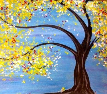 Fall Tree & Blue Sky - Virtual Paint Night