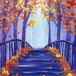 In Studio Paint Night - Fall Leaves on the Bridge