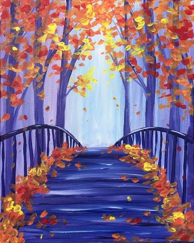Virtual Paint Night - Fall Leaves on the Bridge