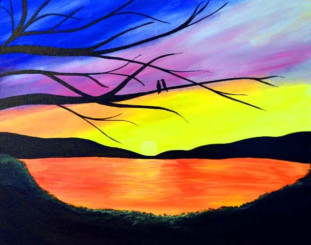 Sunset Love Birds - Virtual Paint Night