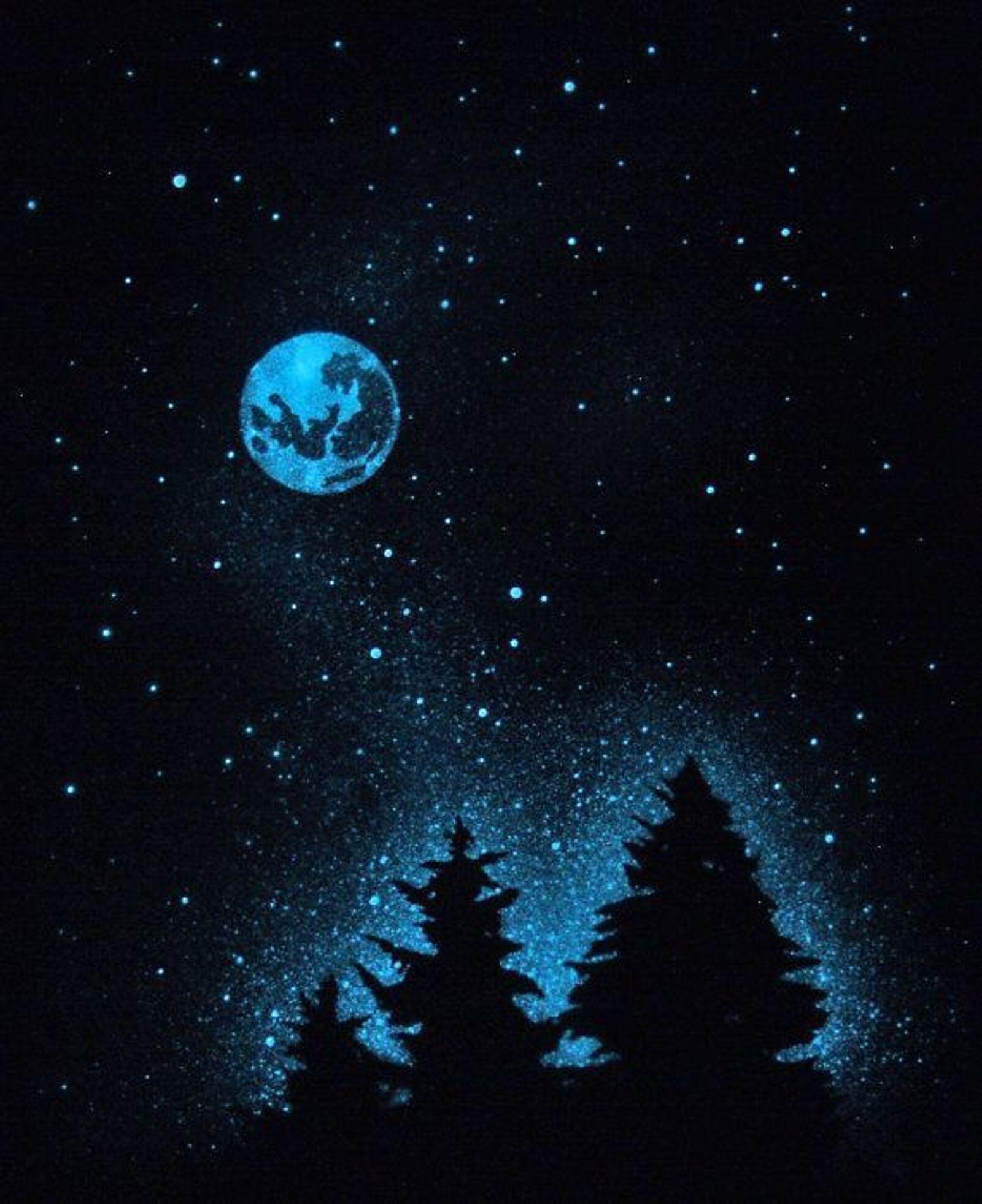 In Studio - Glow in the Dark - Starry Night & Moon - Paint Night