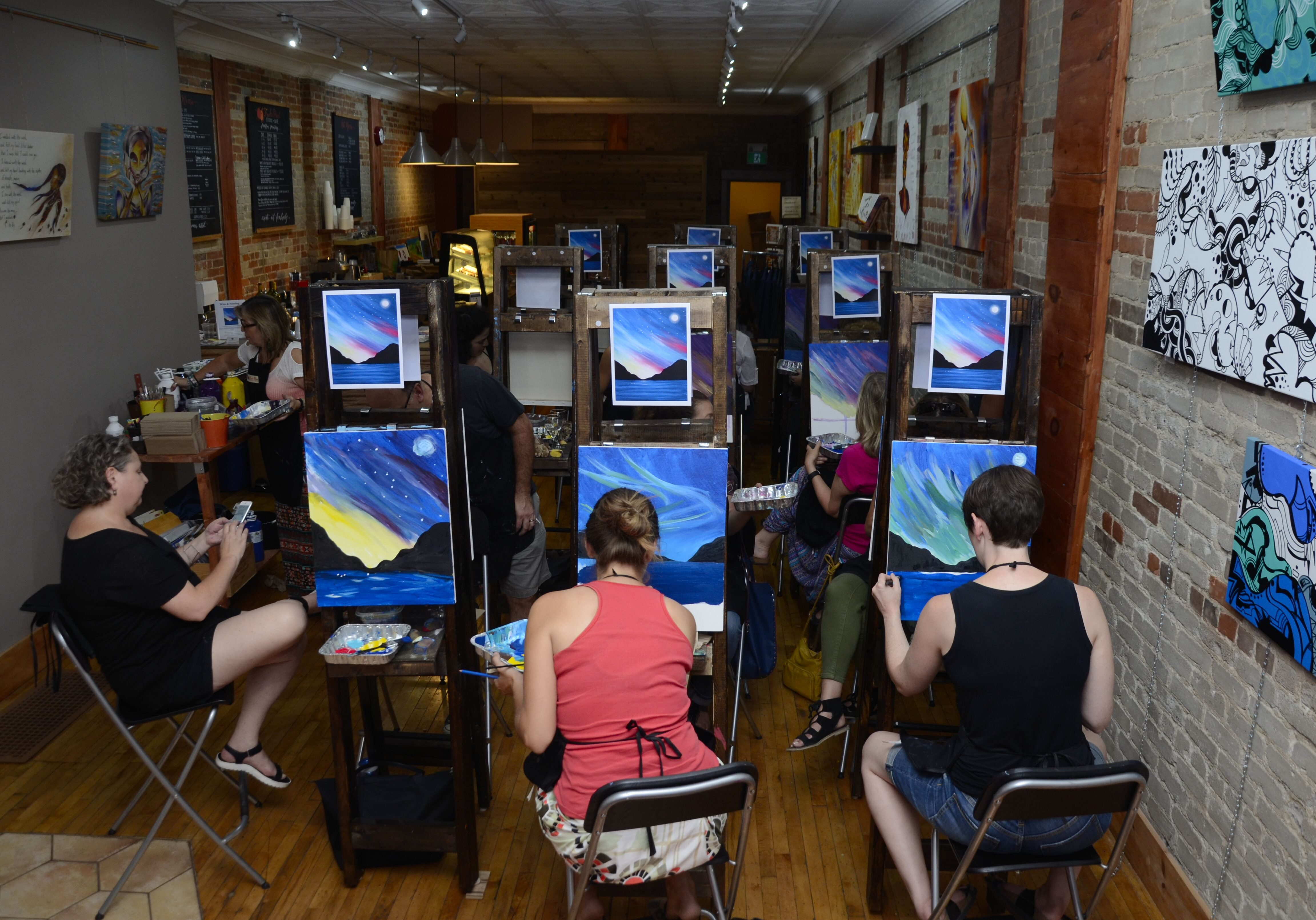 Paint Night in Toronto art studio.